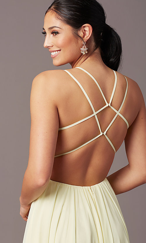 Image of backless long formal prom dress by PromGirl. Style: PG-F2006 Detail Image 5