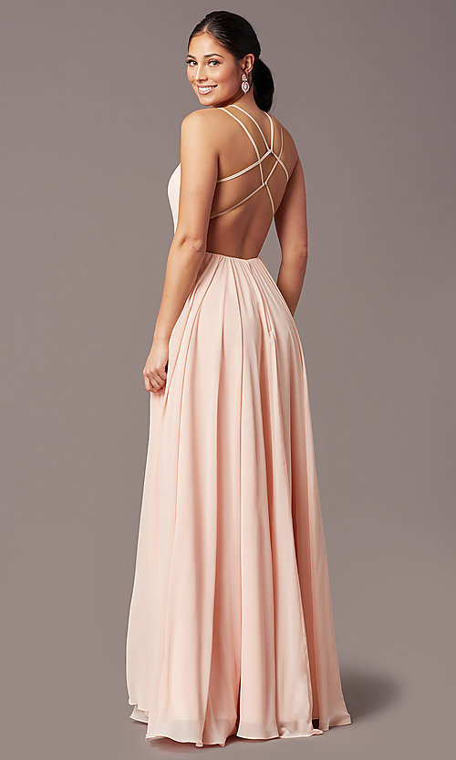 Image of backless long formal prom dress by PromGirl. Style: PG-F2006 Detail Image 7