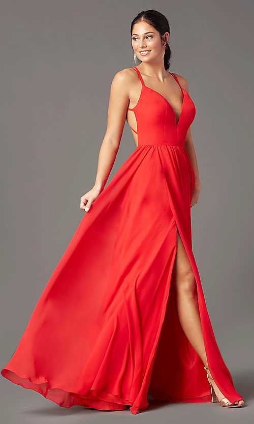 Image of backless long formal prom dress by PromGirl. Style: PG-F2006 Front Image