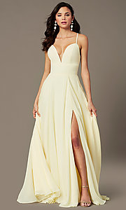 Image of PromGirl long chiffon formal prom dress with train. Style: PG-F2007 Detail Image 1
