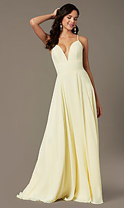 Image of PromGirl long chiffon formal prom dress with train. Style: PG-F2007 Detail Image 5