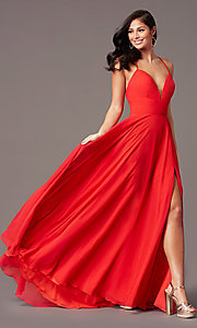 Image of PromGirl long chiffon formal prom dress with train. Style: PG-F2007 Front Image