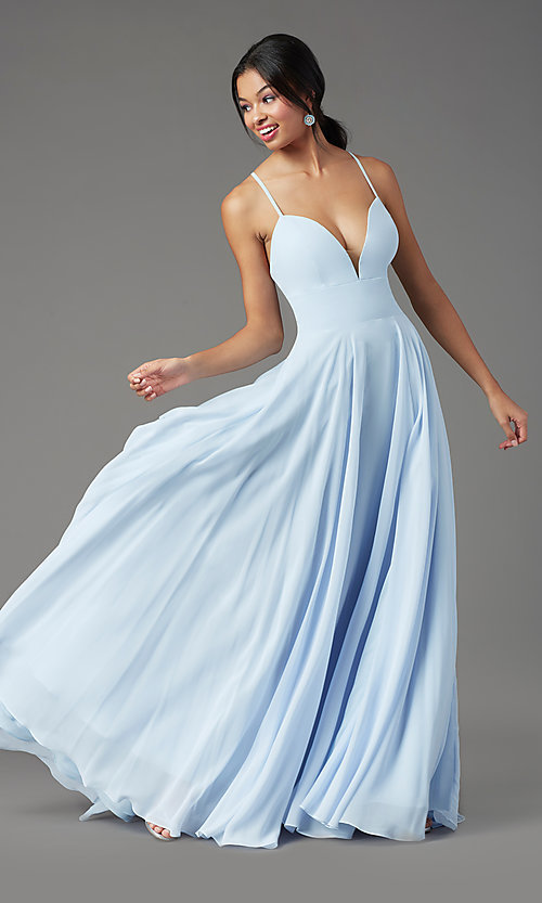 Image of PromGirl long chiffon formal prom dress with train. Style: PG-F2007 Detail Image 6