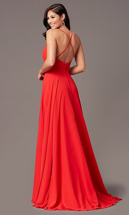 Image of PromGirl long chiffon formal prom dress with train. Style: PG-F2007 Back Image