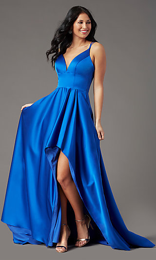 Corset-Back Satin High-Low Prom Dress by PromGirl