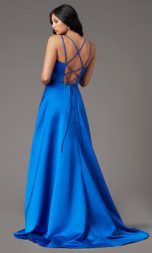 Image of corset-back satin high-low prom dress by PromGirl. Style: PG-F2016 Back Image