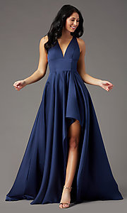 Image of high-low v-neck prom dress by PromGirl. Style: PG-F2017 Detail Image 3