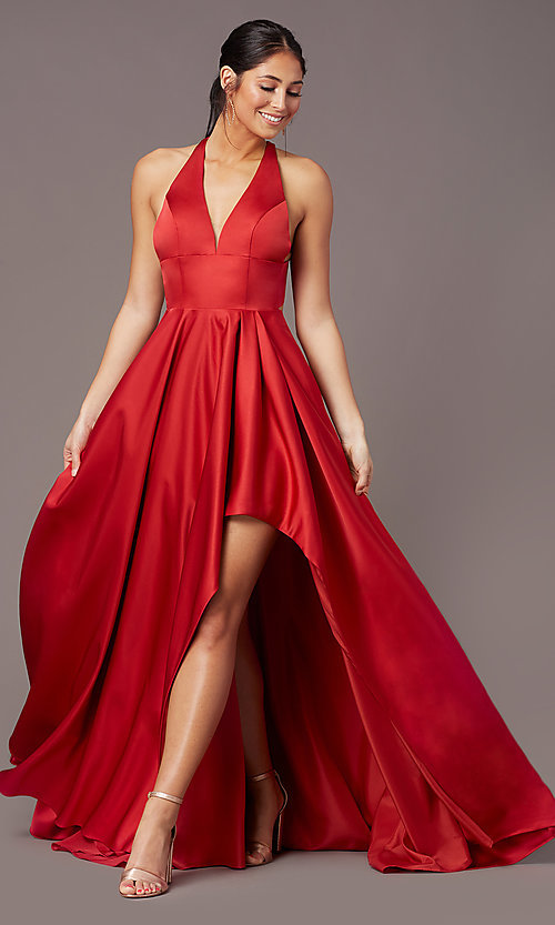 Image of high-low v-neck prom dress by PromGirl. Style: PG-F2017 Front Image
