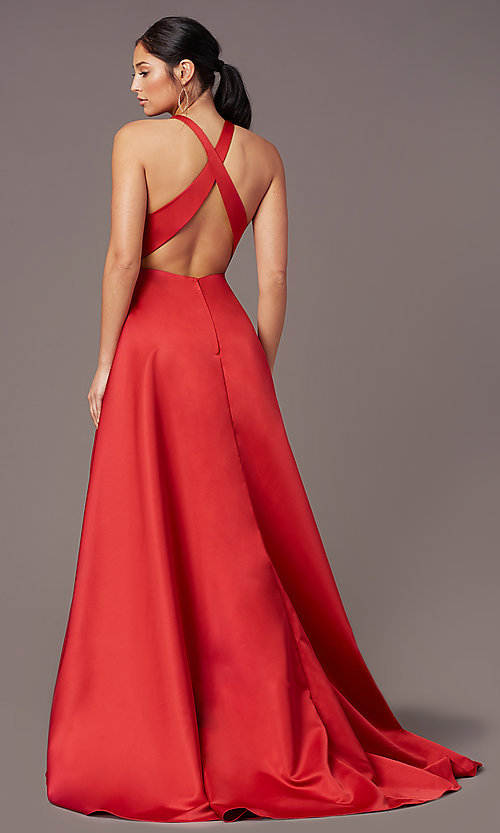Image of high-low v-neck prom dress by PromGirl. Style: PG-F2017 Back Image