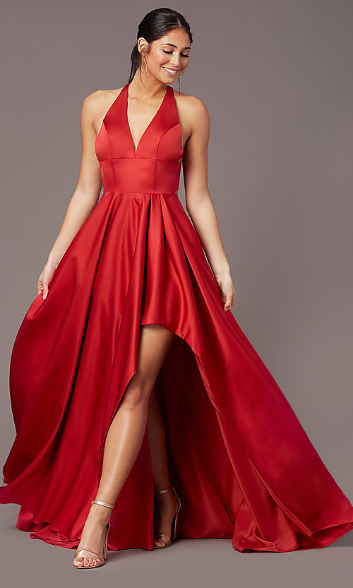 Image of high-low v-neck prom dress by PromGirl. Style: PG-F2017 Detail Image 2