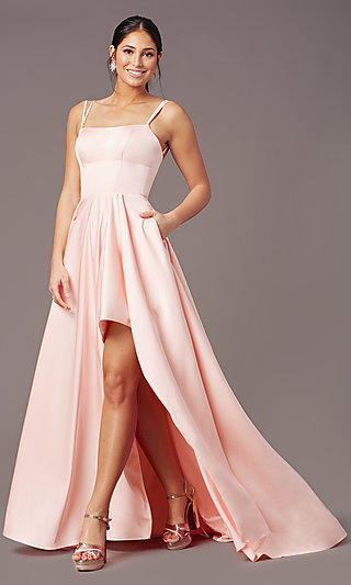 Corset-Style High-Low Satin Prom Dress by PromGirl