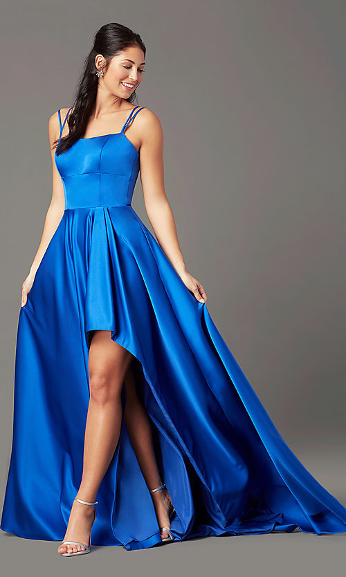 Image of corset-style high-low satin prom dress by PromGirl. Style: PG-F2018 Detail Image 1