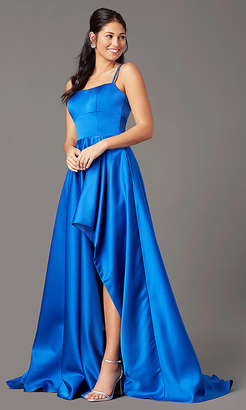 Image of corset-style high-low satin prom dress by PromGirl. Style: PG-F2018 Detail Image 4