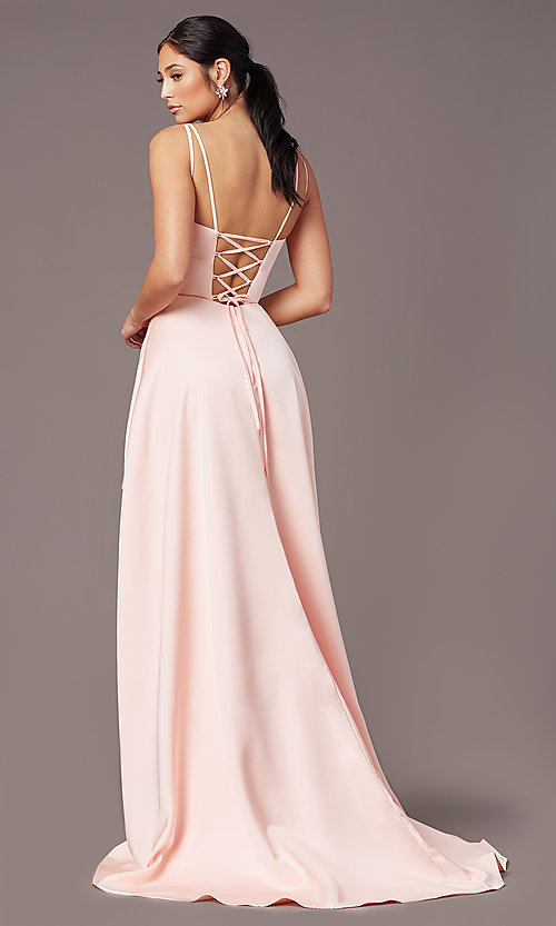 Image of corset-style high-low satin prom dress by PromGirl. Style: PG-F2018 Back Image