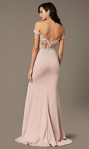 Image of off-shoulder sweetheart prom dress by PromGirl. Style: PG-F2022 Front Image