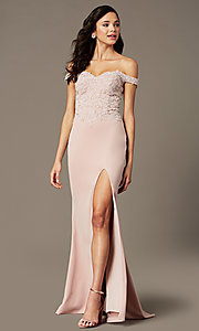 Image of off-shoulder sweetheart prom dress by PromGirl. Style: PG-F2022 Detail Image 3