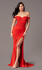 Image of off-shoulder sweetheart prom dress by PromGirl. Style: PG-F2022 Back Image