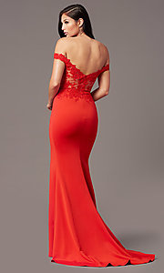 Image of off-shoulder sweetheart prom dress by PromGirl. Style: PG-F2022 Detail Image 5