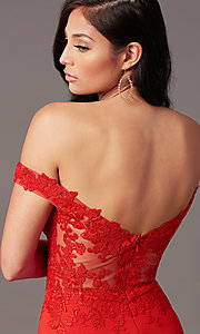 Image of off-shoulder sweetheart prom dress by PromGirl. Style: PG-F2022 Detail Image 6