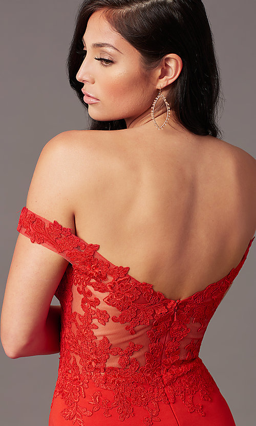 Image of off-shoulder sweetheart prom dress by PromGirl. Style: PG-F2022 Detail Image 1