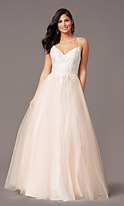 Image of ball-gown-style long formal prom dress by PromGirl. Style: PG-F2027 Detail Image 8