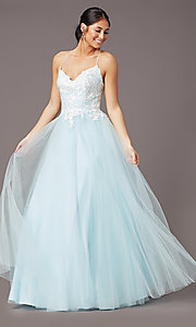Image of ball-gown-style long formal prom dress by PromGirl. Style: PG-F2027 Front Image