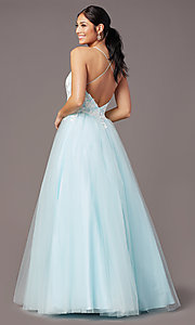 Image of ball-gown-style long formal prom dress by PromGirl. Style: PG-F2027 Back Image