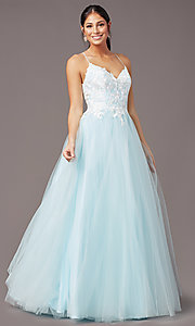 Image of ball-gown-style long formal prom dress by PromGirl. Style: PG-F2027 Detail Image 2