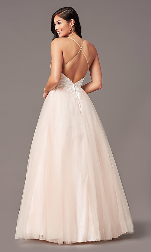 Image of ball-gown-style long formal prom dress by PromGirl. Style: PG-F2027 Detail Image 7