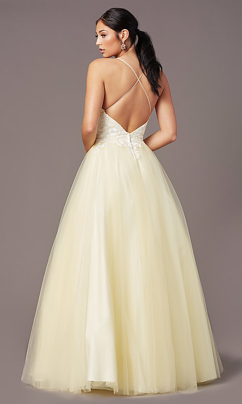 Image of ball-gown-style long formal prom dress by PromGirl. Style: PG-F2027 Detail Image 4