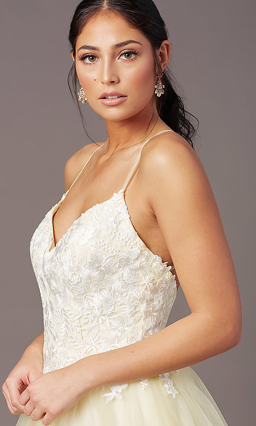 Image of ball-gown-style long formal prom dress by PromGirl. Style: PG-F2027 Detail Image 5