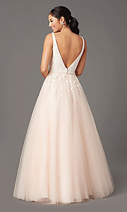Image of long v-neck ball-gown-style prom dress by PromGirl Style: PG-F2028 Back Image