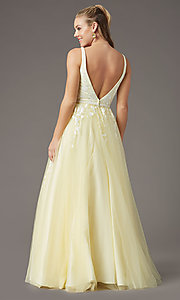 Image of long v-neck ball-gown-style prom dress by PromGirl Style: PG-F2028 Detail Image 4
