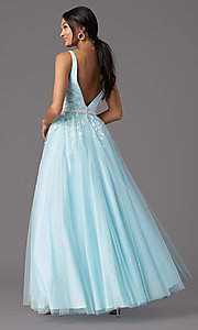 Image of long v-neck ball-gown-style prom dress by PromGirl Style: PG-F2028 Detail Image 7