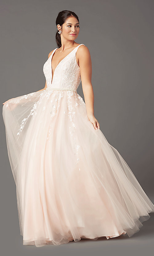 Image of long v-neck ball-gown-style prom dress by PromGirl Style: PG-F2028 Front Image
