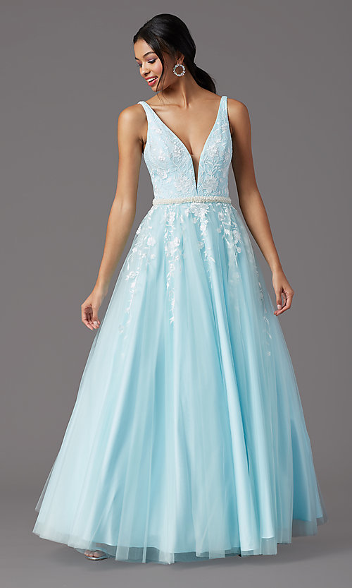 Image of long v-neck ball-gown-style prom dress by PromGirl Style: PG-F2028 Detail Image 6