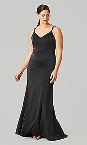 Image of stretch satin long bridesmaid dress under $100. Style: KL-200191 Detail Image 1