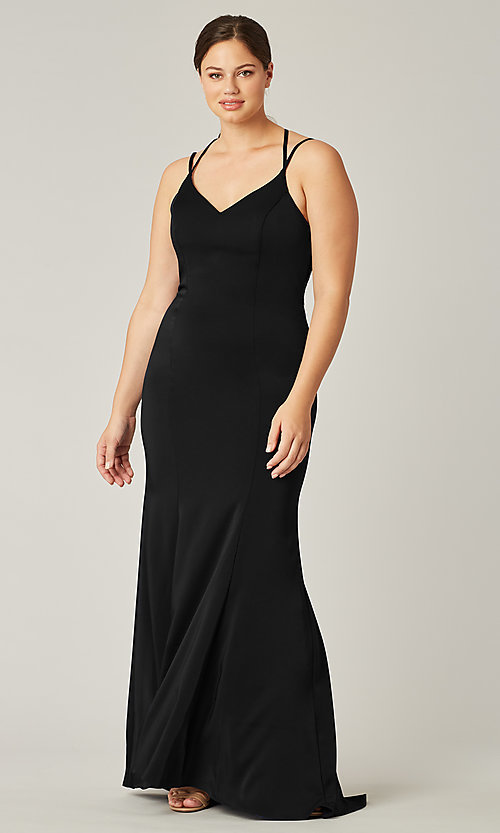 Image of stretch satin long bridesmaid dress under $100. Style: KL-200191 Front Image