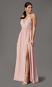 Image of lace-bodice prom dress with bralette back. Style: EM-ACM-3282-630 Front Image
