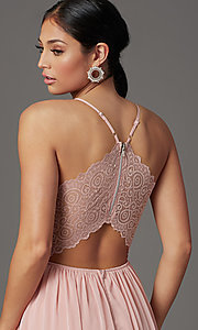 Image of lace-bodice prom dress with bralette back. Style: EM-ACM-3282-630 Detail Image 1