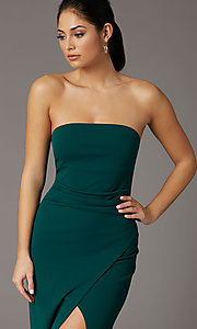 Image of spruce green long strapless formal prom dress. Style: EM-ABE-3405-387 Detail Image 1