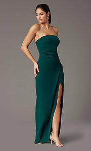 Image of spruce green long strapless formal prom dress. Style: EM-ABE-3405-387 Detail Image 2