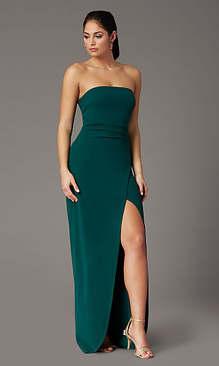 Spruce Green Long Strapless Formal Prom Dress