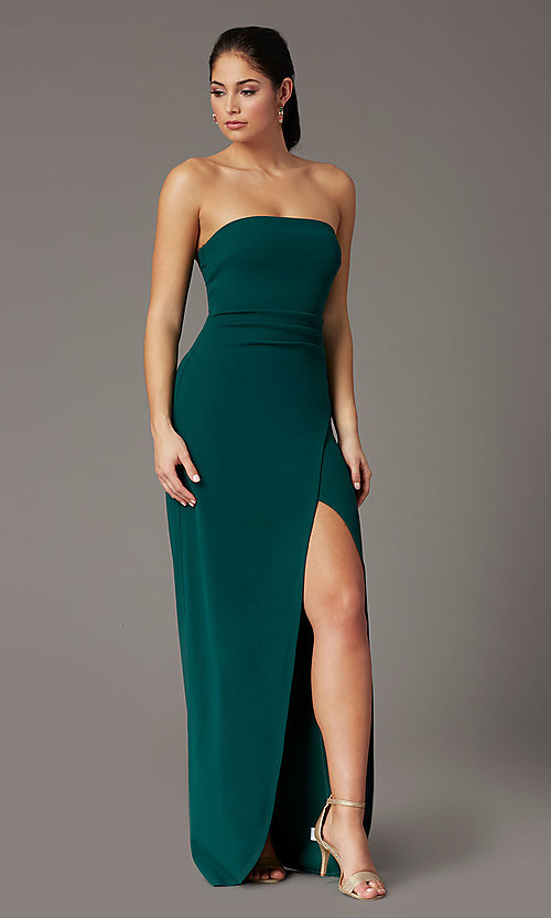 Image of spruce green long strapless formal prom dress. Style: EM-ABE-3405-387 Front Image
