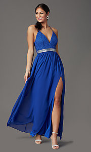 Image of cobalt blue long formal prom dress with lace back. Style: EM-ACS-3662-432 Detail Image 2