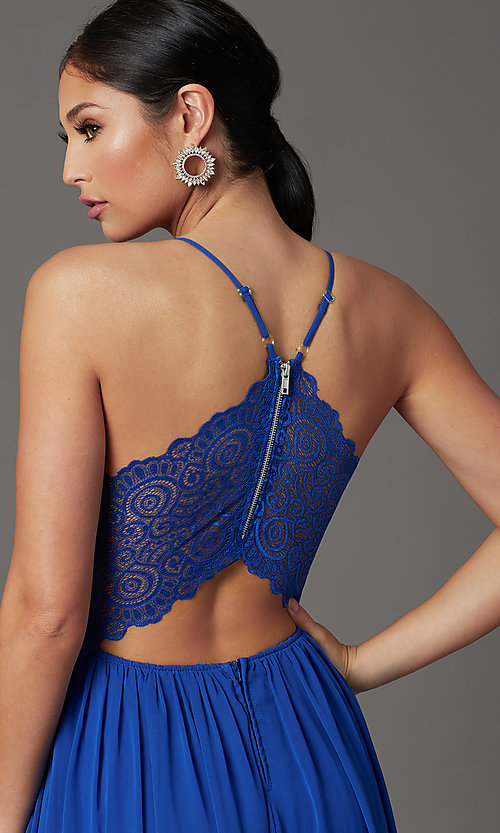 Image of cobalt blue long formal prom dress with lace back. Style: EM-ACS-3662-432 Detail Image 1
