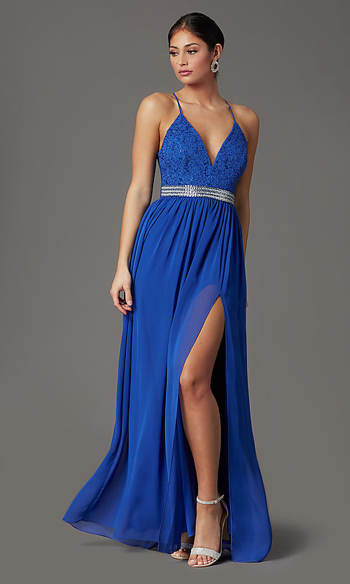 Image of cobalt blue long formal prom dress with lace back. Style: EM-ACS-3662-432 Front Image