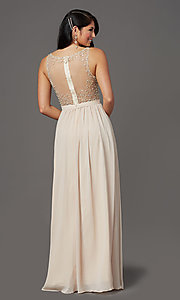 Image of beaded-bodice long sleeveless formal prom dress. Style: SOI-W19236 Detail Image 4