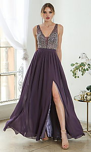 Image of beaded-bodice long sleeveless formal prom dress. Style: SOI-W19236 Detail Image 7
