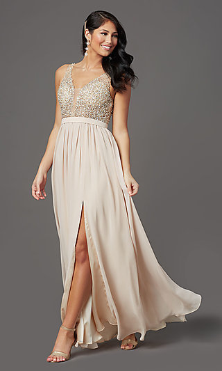 Beaded-Bodice Long Sleeveless Formal Prom Dress
